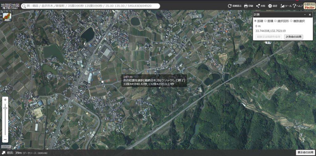 伊予稲荷神社周辺の地割 、グリッドが条理の109mではなく、約150mの区割りが採用されている